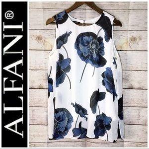 Alfani Tops - Alfani Tank Tunic Blue Poppies Lined Top Large